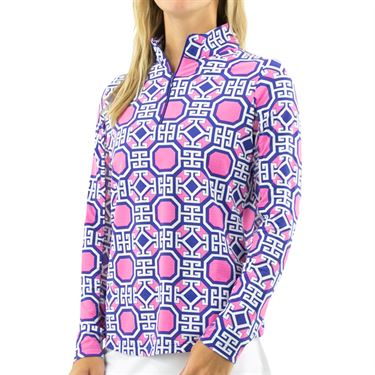 IBKUL Classic Key Long Sleeve Zip Mock Top Womens Navy/Pink 10646 NPK