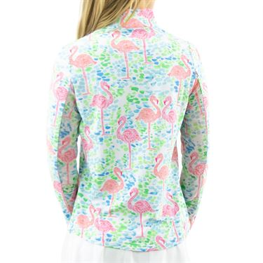 IBKUL IDN Flamingo Long Sleeve Zip Mock Top Womens Turquoise/Pink 10648 TRP