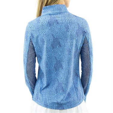 IBKUL BTB Snake Long Sleeve Zip Mock Top Womens Blue Tonal 10650 BTL