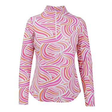 Icikuls Liza Long Sleeve Mock Top - Pink Multi