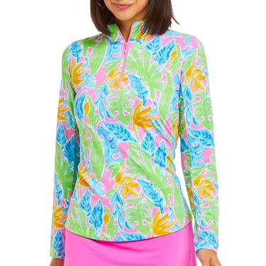 Ibkul Allison Long Sleeve Mock Top Womens Multi 10748 MLT