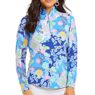 Ibkul Gia Long Sleeve Mock Top Womens Blue Multi 10750 BLM