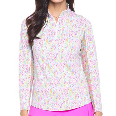 IBKUL Long Sleeve Zip Mock Top Womens Lola Multi 10863 LLA