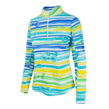 Ibkul 1/4 Zip Kate Jacket - Periwinkle/Yellow