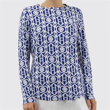 IBKUL Long Sleeve Crew Top Womens Navy/White 12287