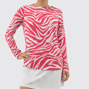 IBKUL Long Sleeve Crew Top Womens White/Watermelon 12291