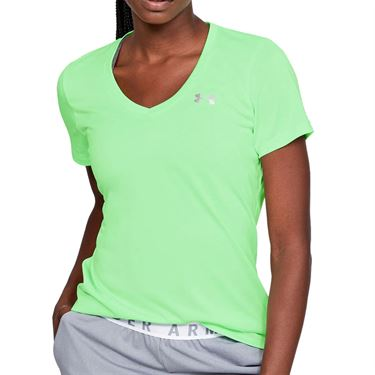 Under Armour Tech Twist V Neck Top Womens Green Haze/Metallic Silver 1258568 382