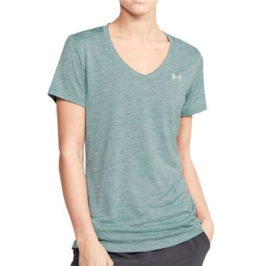 Under Armour Tech Twist V Neck Top Womens Hushed Turquoise/Metallic Silver 1258568 396