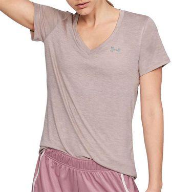 Under Armour Tech Twist V Neck Top Womens Dash Pink/Metallic Silver 1258568 667