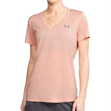 Under Armour Tech Twist V Neck Top Womens Peach Frost/Metallic Silver 1258568 848