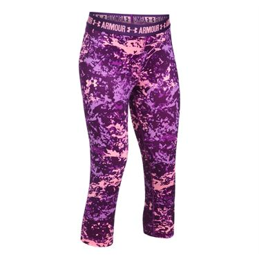Under Armour Girls HeatGear Printed Capri - Purple Rave/Indulge