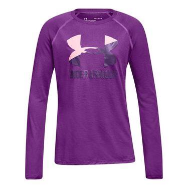 Under Armour Girls Big Logo Slash Long Sleeve Top - Purple Rave/Pop Pink