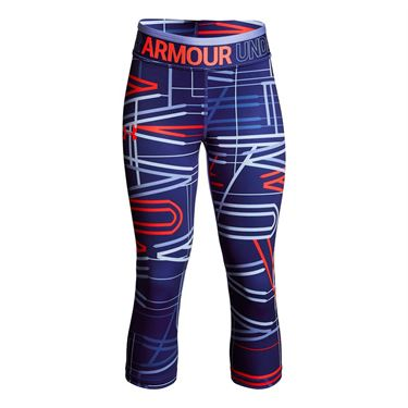 Under Armour Girls Heatgear Capri - Formation Blue/Talc Blue/Neon Coral