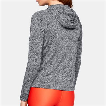 Under Armour Womens Tech Long Sleeve Hoodie - Black/Metallic Silver