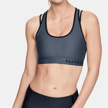 Under Armour Mid Crossback Strappy Bra Womens Downpour Gray/Black 1328867 044