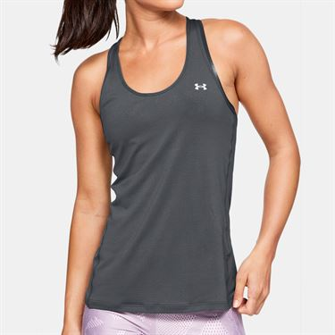 Under Armour Womens Racer Tank - Pitch Gray Light Heather/Metallic Silver