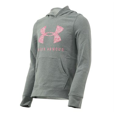 Under Armour Girls Rival Print Fill Logo Hoodie Mod Gray Light Heather/Lipstick 1343622 011