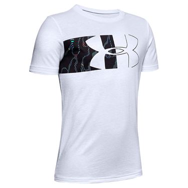 Under Armour Boys Logo Print Tee Shirt White/Black 1346303 101