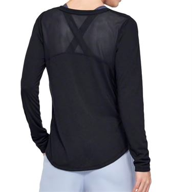 Under Armour Womens Whisperlight Mesh Long Sleeve - Black/Metallic Silver
