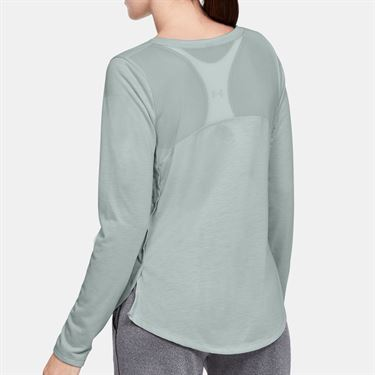 Under Armour Whisperlight Mesh Long Sleeve Top - Green/Metallic Silver