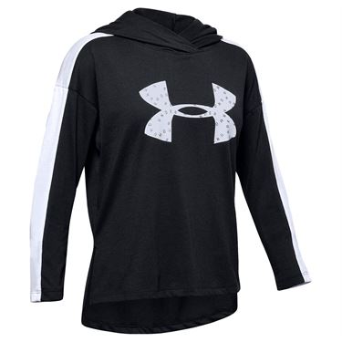 Under Armour Girls Favorites Jersey Hoodie Black/White 1351675 001