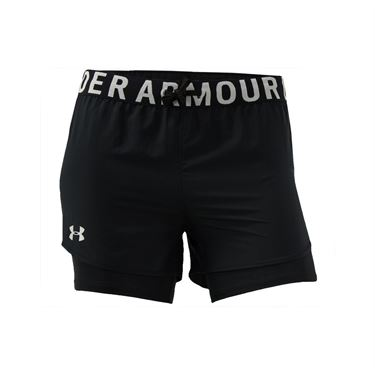 Under Armour Girls Heat Gear 2in1 Short Black/Metallic Silver 1351695 002