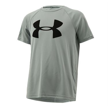 Under Armour Boys Tech Big Logo Shirt - Mod Gray Light Heather/Black