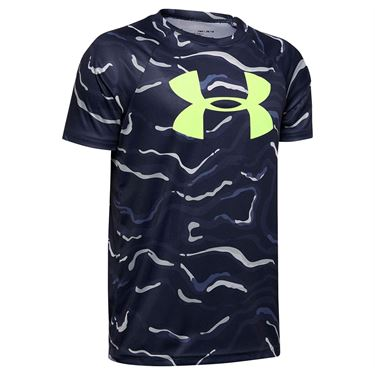 Under Armour Boys Tech Big Logo Printed Tee Shirt Blue Ink/X Ray 1351851 497