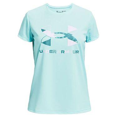 Under Armour Girls Tech Graphic Big Logo Tee Shirt Breeze/Cosmos/White 1363384 441