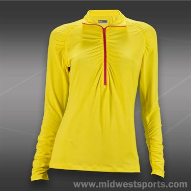 Lija Balance Long Sleeve Quarter Zip Polo-Lemon