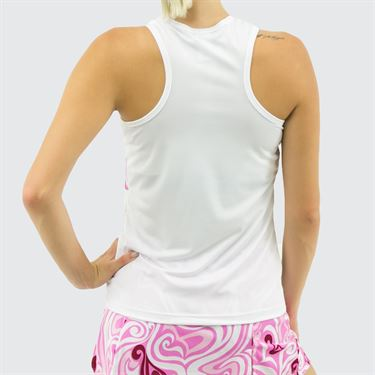 Jerdog Summer Breeze T Back Tank - White/Pink Print
