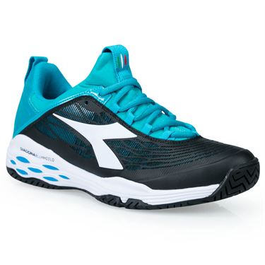 Diadora Speed Blushield Fly Womens Tennis Shoe - Black/Ceramic Blue/White