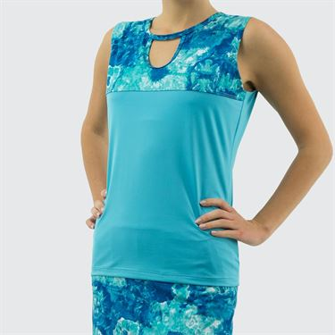 Jerdog Crystal Vision New Vented Sun Top - Aqua/Teal Print