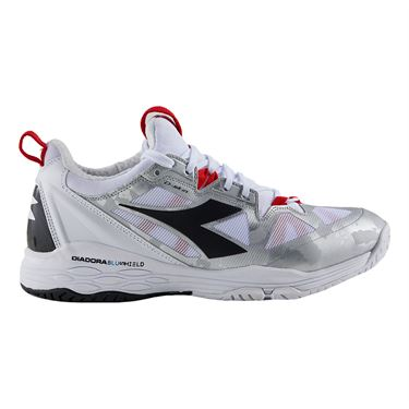 Diadora Speed Blushield Fly 2 Womens Tennis Shoe White/Black/Red 175572 C8364