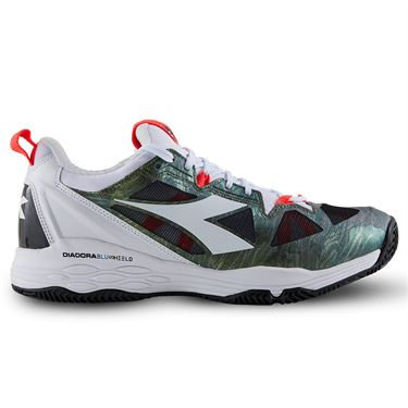 Diadora Speed Blushield Fly 2 Clay Mens Tennis Shoe White/Olivine 175585 C6288