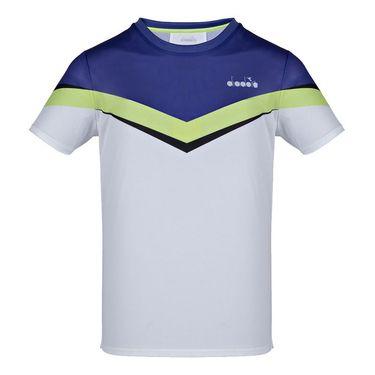 Diadora Clay Tee Shirt Mens Bright White/Royal Blue 175655 C8351