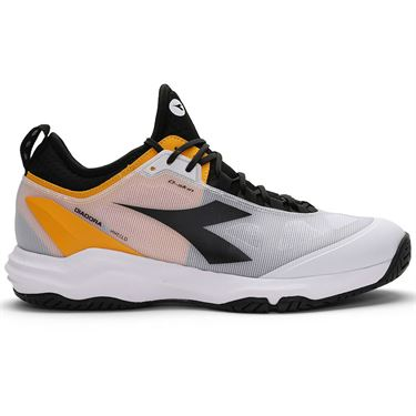 Diadora Speed Blushield Fly 3 AG Plus Mens Tennis Shoe White/Black/Saffron 176949 C9078