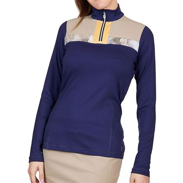 Sofibella Allure Long Sleeve 1/4 Zip Plus Size Womens Navy/Wild Lapis 1806 NVYP