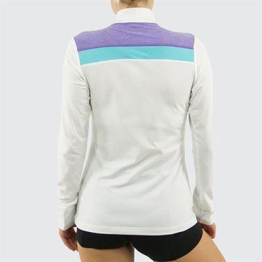 Sofibella Capri Long Sleeve 1/4 Zip Top - White/Viola Melange