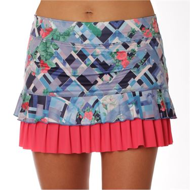 Sofibella Freya Plus Size 14 Inch Skirt - Royal Garden Print/Coral