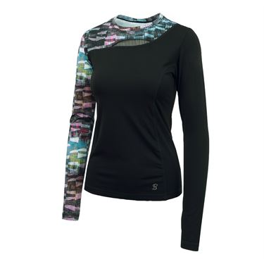 Sofibella Madrid Identity Long Sleeve Top - Matrix Print