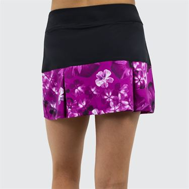 Jerdog Hidden Charms New Pleat Skirt - Black/Berry Print