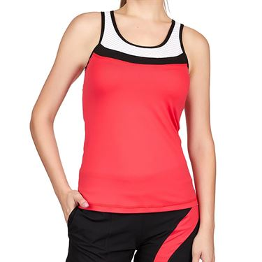 Sofibella Match Point Full Back Tank Womens Berry Red/White/Black 1884 BER