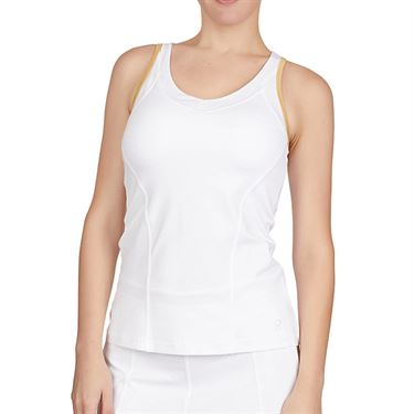 Sofibella Club Lux V Neck Tank Womens White/Gold 1923 WHT