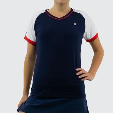 K Swiss Heritage Sport Tee Shirt - Navy/White