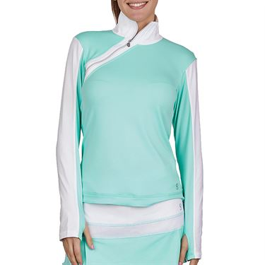 Sofibella Love At First Serve Long Sleeve Side Zip Shirt Womens Sea Breeze Pique/White 1943 SEB