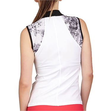 Sofibella Match Point Sleeveless Top Womens White/Black/Vintage Floral 1962 WHT
