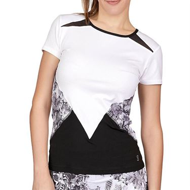Sofibella Match Point Short Sleeve Top Plus Size Womens White/Black/Vintage Floral 1963 WHTP