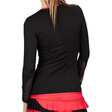 Sofibella Match Point Long Sleeve Top Womens Black/Berry Red 1964 BLK