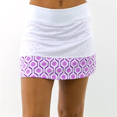 Jerdog Retro Geo All Spin Skirt - White/Orchid Print